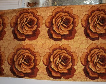 Stunning vintage pair of Curtain lengths with retro roses pattern. Made in Sweden Scandinavian.