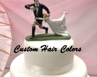 Custom Wedding Cake Topper - Bride and Groom - Love Match Wedding Cake Topper - Rugby Couple - Rugby Wedding -  Rugby Cake Topper