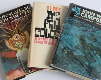 3 Sci-Fi Vintage Book Club Editions: The Fall of the Colussus, The Best of C.M. Kornbluth, and The Best of John W. Campbell - Vintage Books