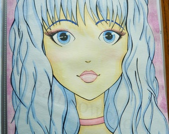 """The girl with the hair blue-painting original Watercolour """"Collection bed and child"""""""