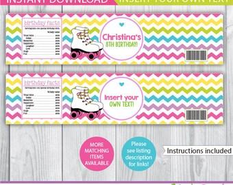 Roller Skating water bottle labels / Roller Skating bottle labels / Roller Skating decor / Roller Skating decoration / printable / INSTANT