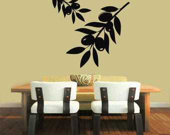 Olive Branch Wall Decals Olive Tree Stickers Kitchen Wall Decor Floral Interior Design Home Decor Vinyl Art Wall Decor Kids Room Decor KG336