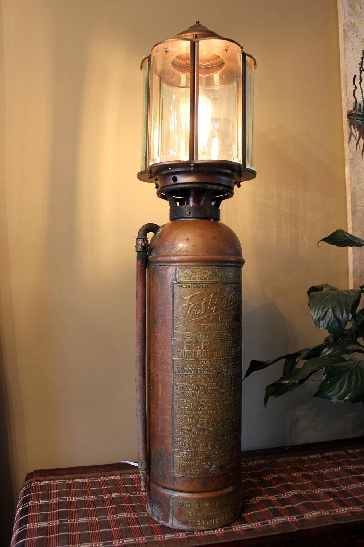 Antique Fire Extinguisher Lamp Ca1930 Ish Excellent