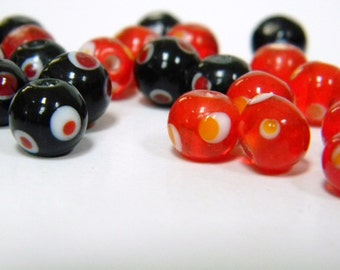 Cheap Glass polka dot beads- Black and Red