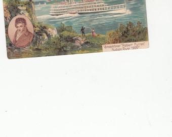 "Steamboat ""Robert Fulton"" Hudson River 1909 Embossed Unused Antique Postcard"