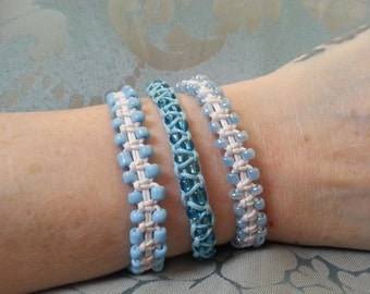 Handmade Blue and White Arm Candy Bracelet Set