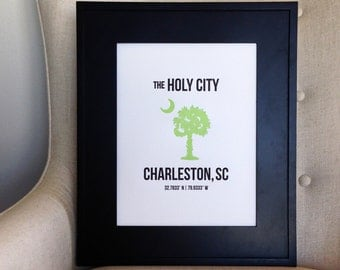 "10"" x 13"" Charleston Letterpress Wall Art"