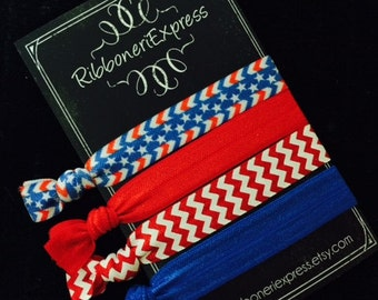 Patriotic Ties  -  Set of 4,  No Pull,  No Crease,  Hair Ties,  Pony Tail Holder,  Bracelets.