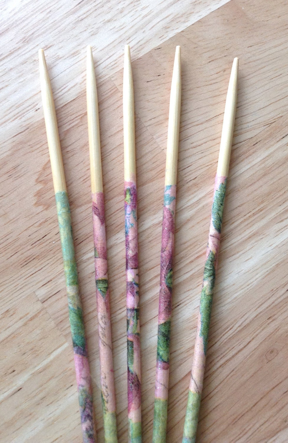 Decoupaged Double pointed knitting needles