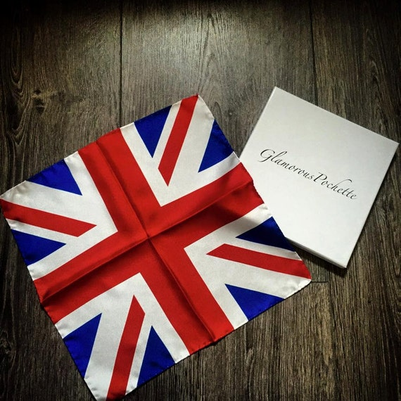 Union Jack Silk Pocket Square Handkerchief by Glamorous Pochette [Limited Edition]