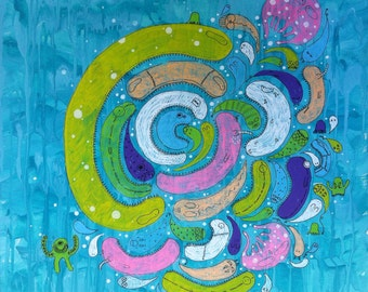 Food Chain underwater deep sea ocean monsters hand painted on canvas