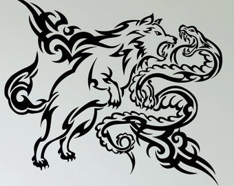 Wall Decal Wolf Snake Tribal Animal Vinyl Stickers Art Mural (ig2595)