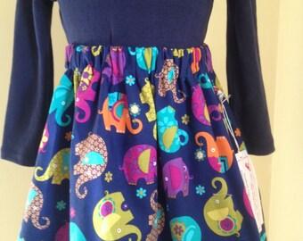 Girls skirt, Michael Miller elephants, age 3-4, lined