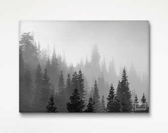 Trees In Fog Canvas Print, Nature Print, Black White Wall Art, Fine Art Photography