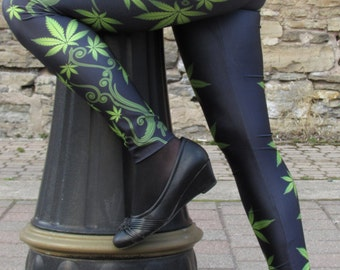 TAFI Marijuana Vine Leggings S-M/L-XL Affordable Black Milk Alternative Yoga Pants (Pot Leaf Custom Print)