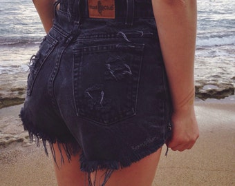 Custom Black High Waisted Shorts