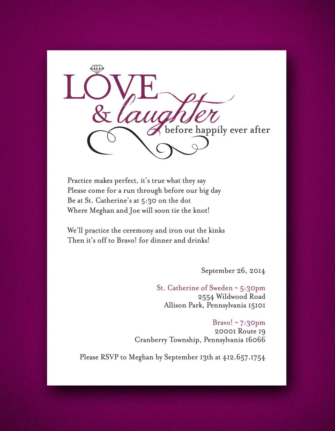 Love & Laughter before happily ever after Wedding Rehearsal  Love & Laughter...
