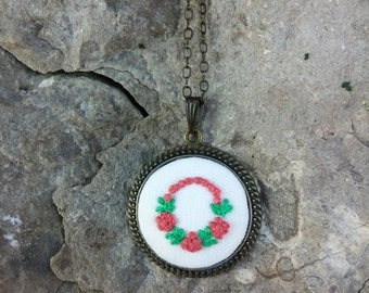 Embroidered Flower Fabric Pendant Necklace Textile Jewelry Unique gifts for mother/sister