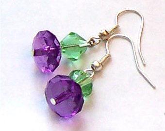 Purple & Green Crystal Earrings