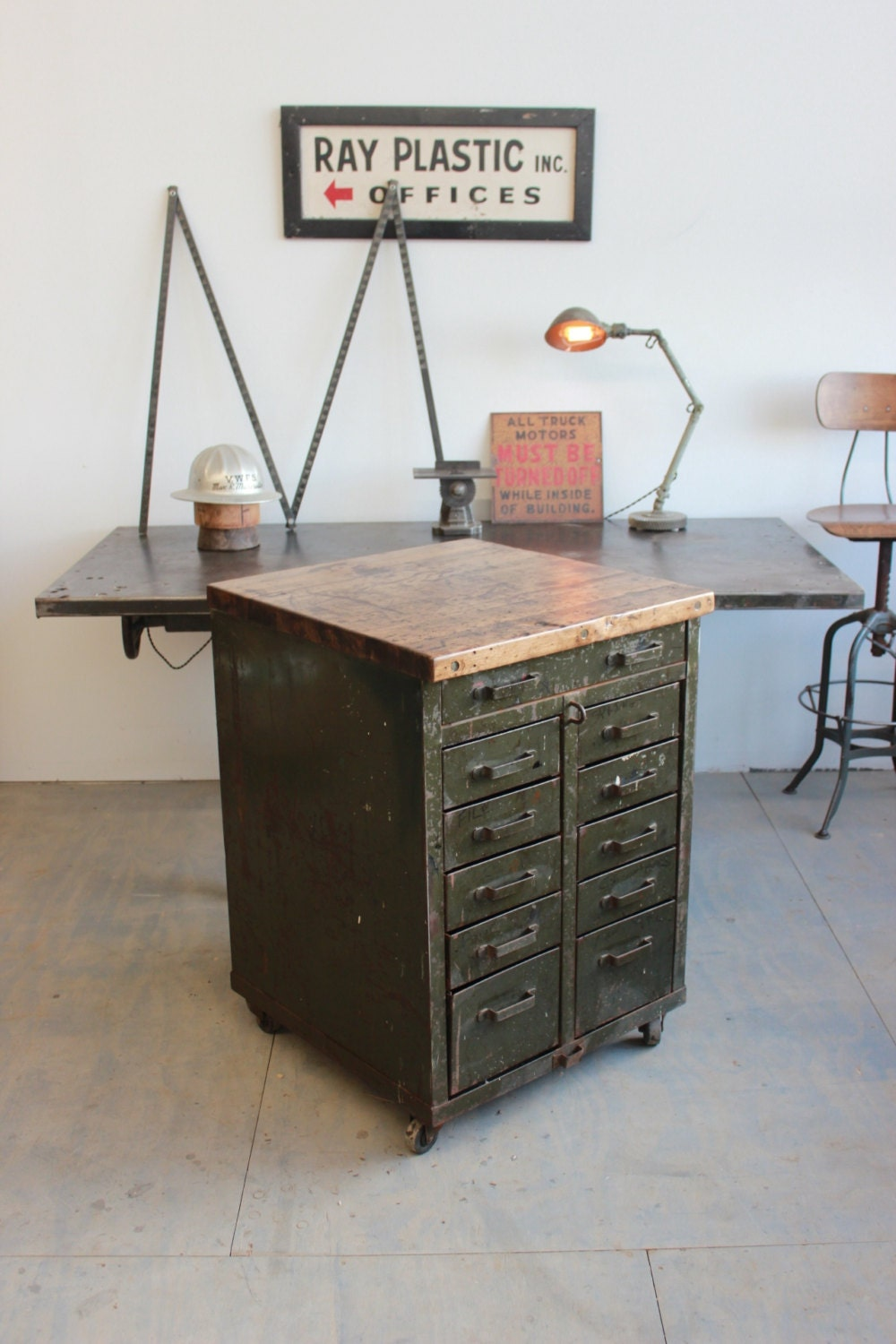 Vintage Industrial Lyon Workbench/ Kitchen Island/ by DorsetFinds