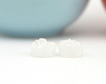 White Druzy Beads   White 10mm Druzy Beads   Drilled Druzy Beads   2 White Druzy Beads   REAL Druzy Quartz