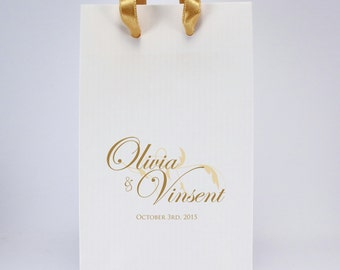 100 Printed Wedding Favor Bags with Handles - Personalized Favor Bags with Couple's Names and Wedding Date - SMALL White Paper Gift Bags