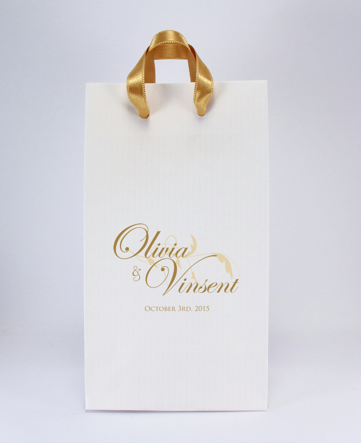 Wedding Gift Bags Printed : 100 Printed Wedding Favor Bags with Handles Personalized