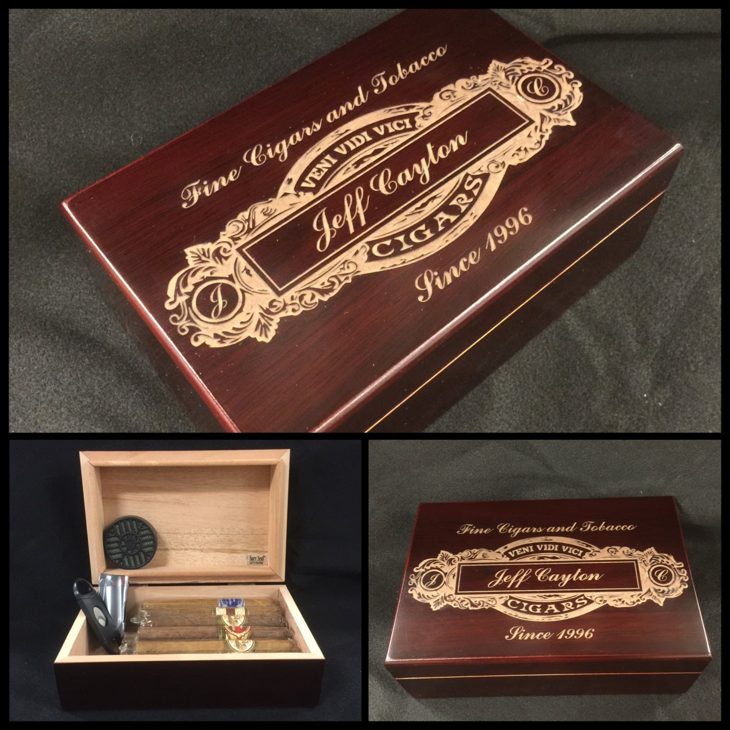 Custom Engraved Cigar Humidor Personalized By