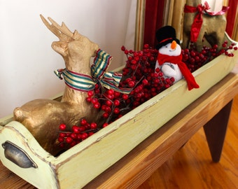 Holiday Centerpiece Table Trough from weathered barn wood with Vintage cup handles