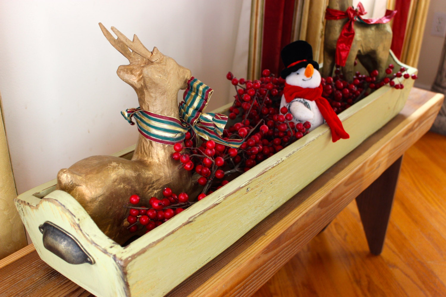 Holiday centerpiece table trough from weathered barn wood with