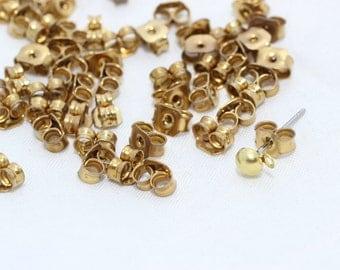 200 Pcs Raw Brass Earring backs - Earring Stopers - Earnuts - (6x3mm) Earring Posts , CMR36