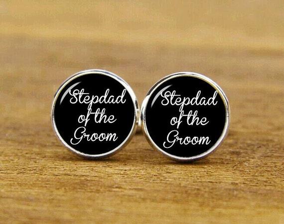 stepdad of the groom cufflinks, custom groom wedding cuff links, round or square cufflinks & tie clip set, groom cufflink, stepdad cuff link