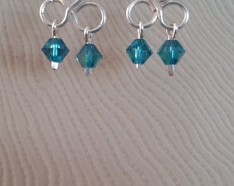 Three loop chandelier Swarovski crystal earrings.