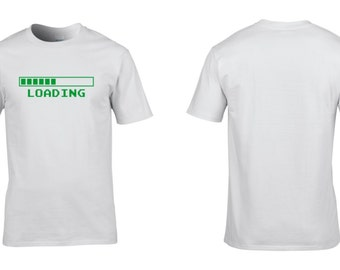 Loading Mens Cotton T-Shirt Retro Video Gaming Games Geek Nerd Computer Graphics Clothing Christmas NEW