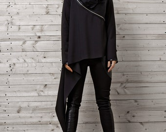 Black Asymmetric Top / Long Sleeve Top / Asymmetric Black Shirt / Oversize Shirt with Zippers