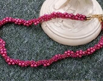 Fuchsia Pink Kumihimo Beaded Necklace