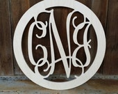Wooden Monogram - Monogram with Circle Border - Ready To Paint