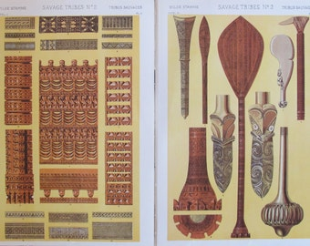 Set of 2 Prints: The Grammar of Ornament Owen Jones, 1910 - Savage Tribes, British Decorator Sheet, Poster Design, Graphic Design