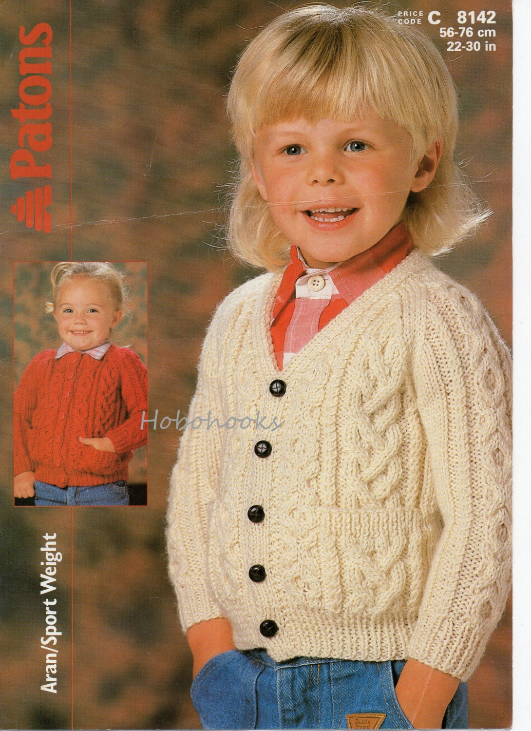 Childs Aran Jumper Knitting Pattern : childrens aran cardigan knitting pattern 22-30 inches aran