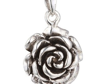 Sterling Silver Rose Pendant, Sterling Silver Flower Pendant, 925 Silver Rose Pendant 6.8 grams - SP491