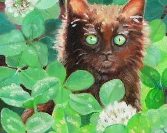 Lucky,Black Cat,Four Leaf Clover,Art Print,Tina Welter,5x7, Giclee print,Luck,Shamrock,St. Patrick's Day,Green,black kitten,