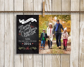 Chalkboard Photo Christmas Card, Wishing You a Very Merry Christmas With Photo in Background, Custom Digital Card, 5x7