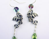 PRICE DROP! Dragon Earrings with Real Peridot Drop, Handcrafted Silver Fill Earwires, AB Aurora Borealis Glass Accents