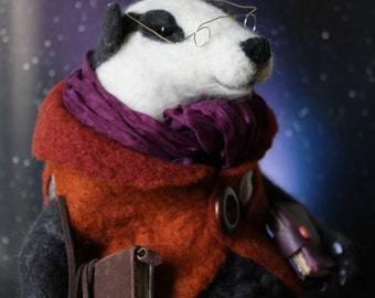The Librarian Needle Felted Badger Art Sculpture(reserved)