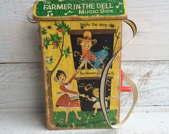 The Farmer and the Dell -Vintage Music Box -Nursey Rhymes -Nursery Toys - Baby Nursery Decor - Fisher Price Toys - Wooden Toys -Vintage Toys