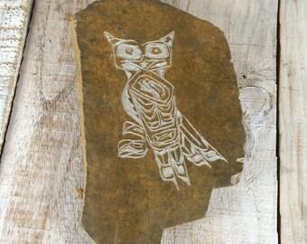 Owl Garden Stone - Garden Owls - Stone Owl - Stone Carving - Owl Rock Garden - Carved Owl - Garden Decor