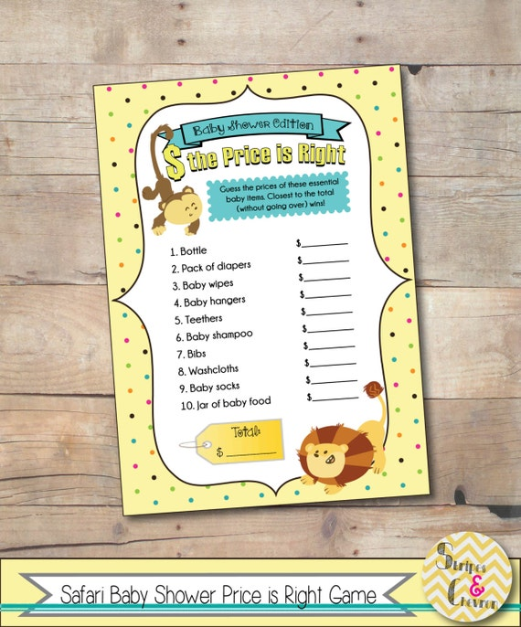 Safari Baby Shower Game, Jungle Baby Shower Theme, Price Is Right Instant  Download, Baby Shower Idea, Baby Shower Game, Jungle Theme, Yellow