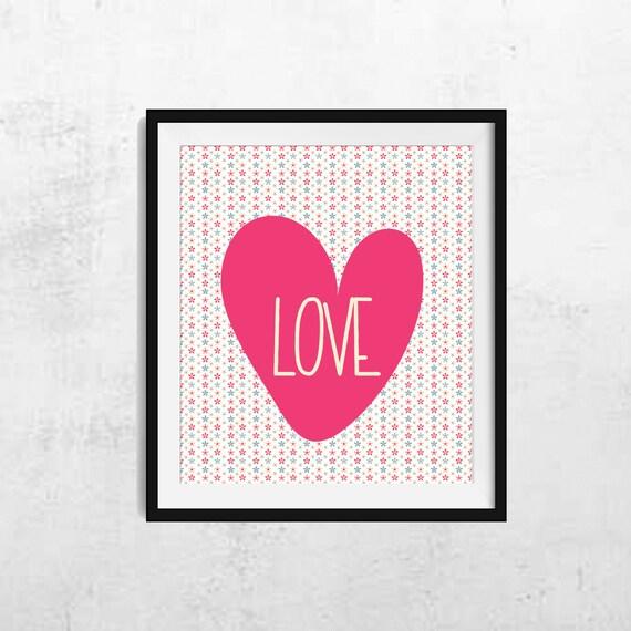 Wall Art Love Hearts : Hearts print love heart wall art decor