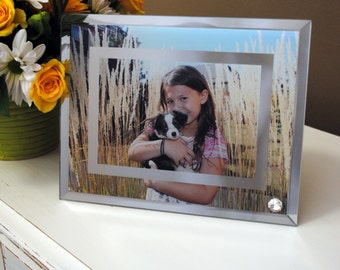 Personalized Photo Frame 6x9 Mirror Glass -  Customize With Your Own Picture