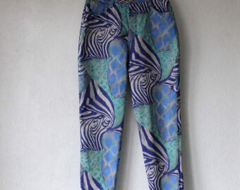 LOUIS FERAUD Jeans High Waist Cotton Pants Womens Animal Print Pants Made in Italy Large Size